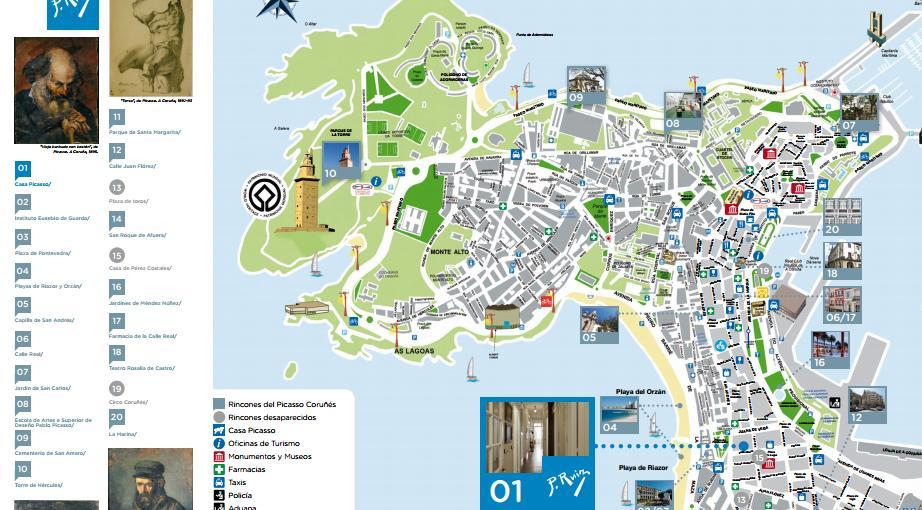 A Coruña Mapa Turistico.Ruta Picasso El Vertice Corunes De Picasso